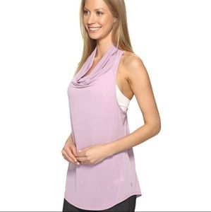 Lucy Tops - Lucy Light Grey Cowl Neck Racer Back Athletic Tank